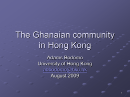The Ghanaian community in Hong Kong