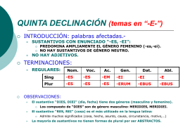 PRIMERA DECLINACIÓN