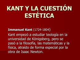 KANT Y LA CUESTIÓN ESTÉTICA