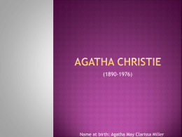 Agatha chrIstIe - Erciyes University