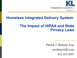 HIPAA and Other Privacy Laws in the Homeless