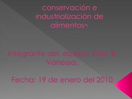 conservación e industrialización de alimentos~