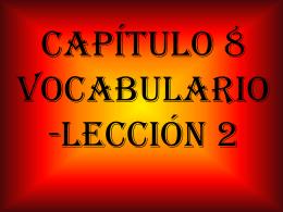 Capítulo 8 vocabulario