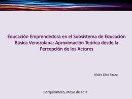 Aproximación Teórica a la Educación Emprendedora