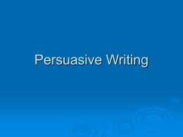 Persuasive Writing - Primary Resources