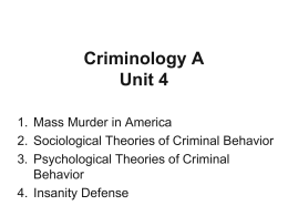 Sociological Theories of Criminal Behavior