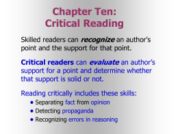 Chapter Ten: Critical Reading