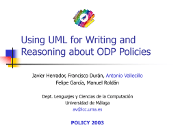 Using UML for Writing and Reasoning about ODP