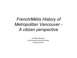The French/Métis History of Metropolitan
