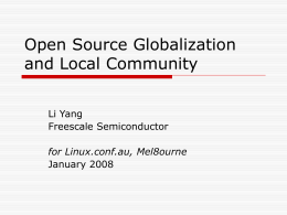 Open source Globalization and Local Helper -