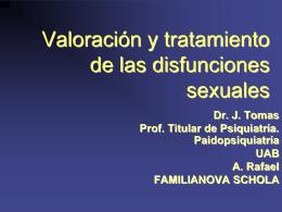 VALORACIÓN Y TRATAMIENTO DE LAS DISFUNCIONES