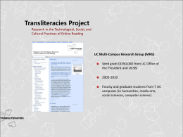 Transliteracies & Rose Overview Presentation