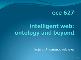 ece 720 intelligent web: ontology and beyond