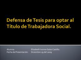 Defensa de Tesis para optar al título de