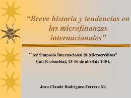 """Tendencias en microfinanzas y evaluación de IMFs"""""""