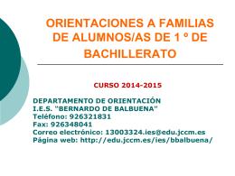 ORIENTACIONES A FAMILIAS DE ALUMNOS/AS DE 1 º DE