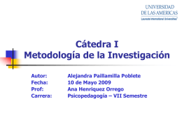 Cátedra 1 Metodología de la Investigación