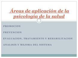 Áreas de aplicación de la psicología de la salud