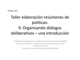 Taller Elaboración Resúmenes Ejecutivos, CONACE: