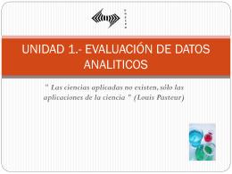 UNIDAD 1.- EVALUACIÓN DE DATOS ANALITICOS
