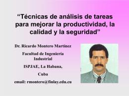 DESCRIPCIÓN DE TÉCNICAS DE ANÁLISIS DE TAREAS COMO