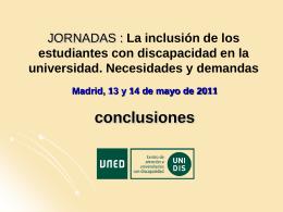 JORNADAS : La inclusión de los estudiantes con