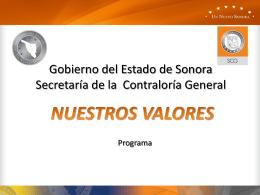 Gobierno del Estado de Sonora Secretaría de la
