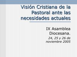 Visión Cristiana de la pastoral ante las