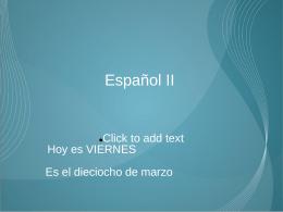 Español II - PlanbookConnect