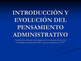 INTRODUCCIÓN Y EVOLUCIÓN DEL PENSAMIENTO