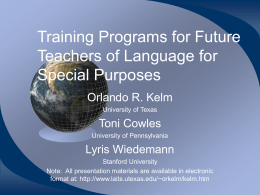 Training Programs for Future Teachers of Language