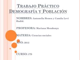 Trabajo Práctico Demografía y Población