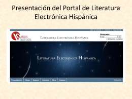 LITERATURA ELECTRÓNICA HISPÁNICA