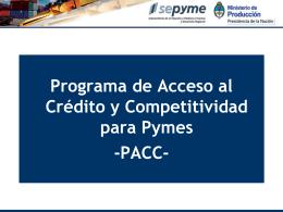 Programa de Acceso al Crédito y Competitividad