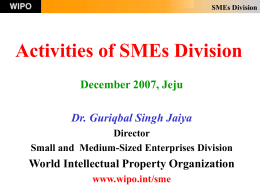 Innovation, Intellectual Property and SMEs