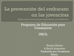 La prevención del embarazo en las jovencitas