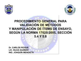 PROCEDIMIENTO GENERAL PARA VALIDACIÓN DE MÉTODOS Y