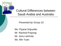 Group cultural differences between Saudi Arabia &