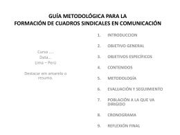 GUÍA METODOLÓGICA PARA LA FORMACIÓN DE CUADROS