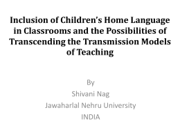 Inclusion of Children's Home Language in