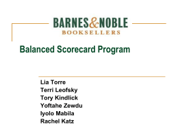 Barnes & Noble Booksellers Balanced Scorecard