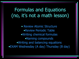 Formulas and Equations (no, it's not a math