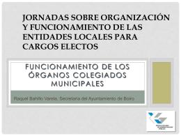 JORNADAS SOBRE ORGANIZACIÓN Y FUNCIONAMIENTO DE