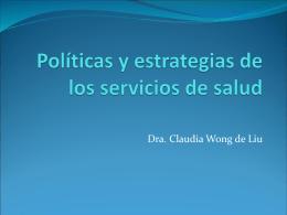 Políticas y estrategias de los servicios de salud