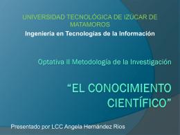 """Optativa ii Metodología de la Investigación """"EL"""
