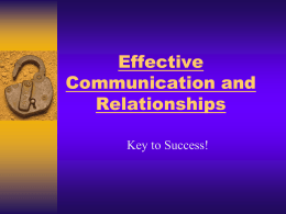 Effective Communication and Relationships