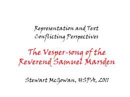 The Vesper-Song of the Reverend Samuel Marsden