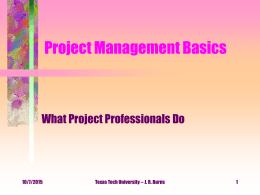 Chapter 3: Project Management Basics