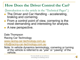 Vehicle Handling and Control