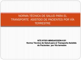 NORMA TÉCNICA DE SALUD PARA EL TRANSPORTE ASISTIDO